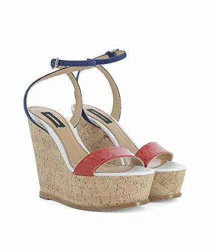 S17W205404M023 Cuir Dsquared2 Femme Chaussures Compensées Multicolore 4qvOag5