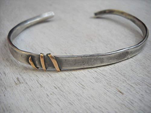 (Blackened Sterling Silver and 14K Yellow gold Rustic Cuff Bracelet for Men, Alternative Artisan Handmade)