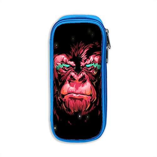 OuJin Kids Ferocious Red Gorilla School Pencil Case Pen Bag Pouch for Boys Blue