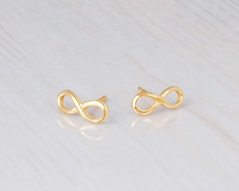 Designer Handmade Small Delicate Post Earring Tiny Gold Infinity Stud Earrings