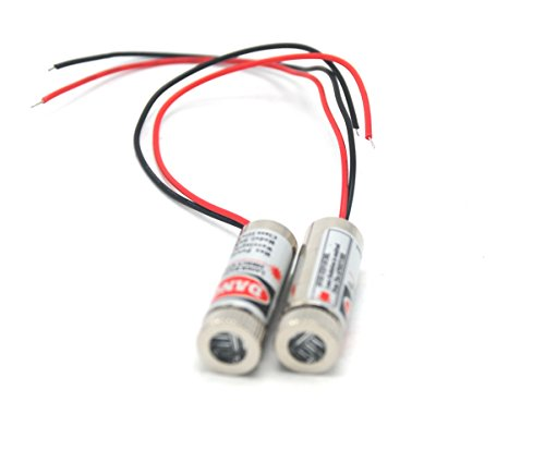 Focusable 650nm 5mW 3-5V Red Laser Cross Module Diode w/ driver Plastic Lens (2 Pack)