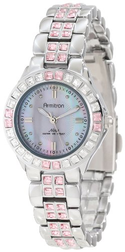 Armitron Womens 753689PMSV Pink Colored Swarovski Crystal Accented Silver-Tone Watch