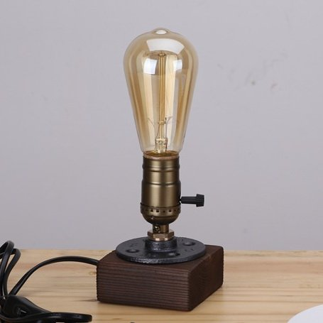 Kiven Vintage 1 Light Table Lamp Industrial Style Desk Lamp Wooden Base  Decor Lighting Bulb