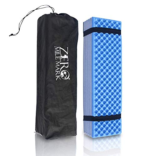 Zero Mile Mark Compact Foam Camping Mat Sleeping Pad Mattress for Tent Lightweight and Damp Resistant Includes Packing Bag for Hiking, Outdoor Camping and Mountaineering
