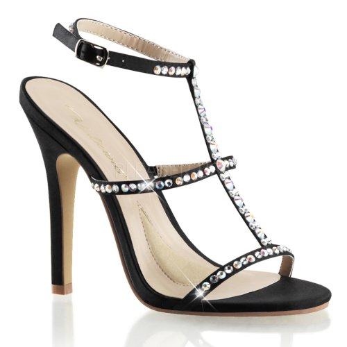Favolosi Sandali Da Donna Con Cinturino 18 Tinghia In Raso Nero