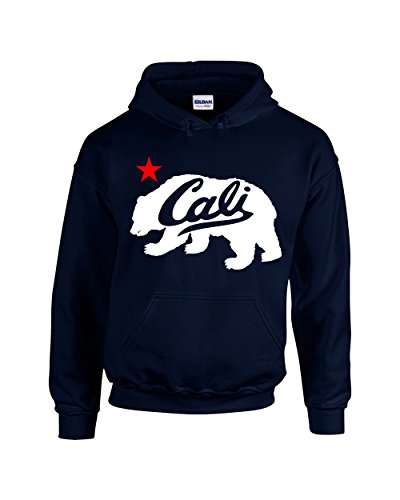 CAMALEN White Cali Bear Design Popular California Unisex Pullover Hoodie Hooded Sweatshirt(Navy,Small)