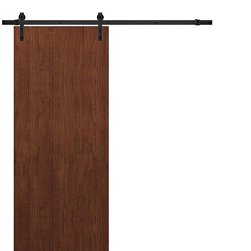 Sliding Panel Barn Door 36 x 80 | Planum 0010 Walnut Modena | 6.6FT Rail Hangers Stops Hardware Set | Modern Solid Panel Interior Door
