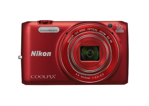 Nikon COOLPIX S6800 16 MP Wi-Fi CMOS Digital Camera with 12x Zoom NIKKOR Lens and 1080p HD Video (Red) (Discontinued by Manufacturer)