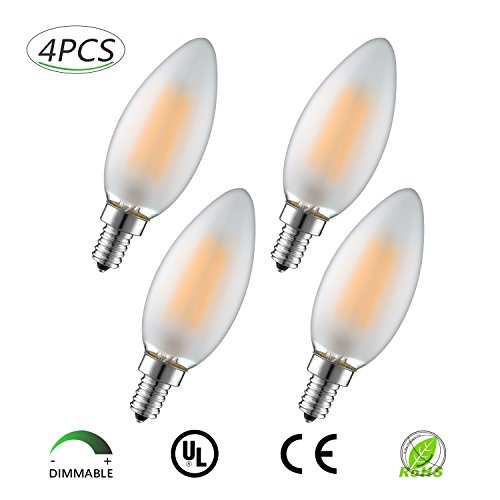 LightFamily C35 4W Dimmable LED Filament Candle Light Bulb,Warm White 2700K 400LM, E12 Base,Frosted Glass, C35 Torpedo Tip,For Kitchen,Home,Bedroom,Dining Room,Living Room,Upgrade New,Pack of 4