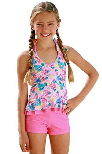 Girls Frill Tankini Set-Boyleg Shorts - Frill Tankini Set