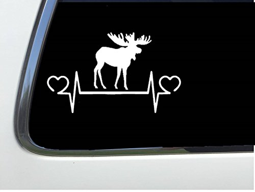 Moose Line (ThatLilCabin - Moose lifeline heartbeat sticker 8 inch decal AS286)