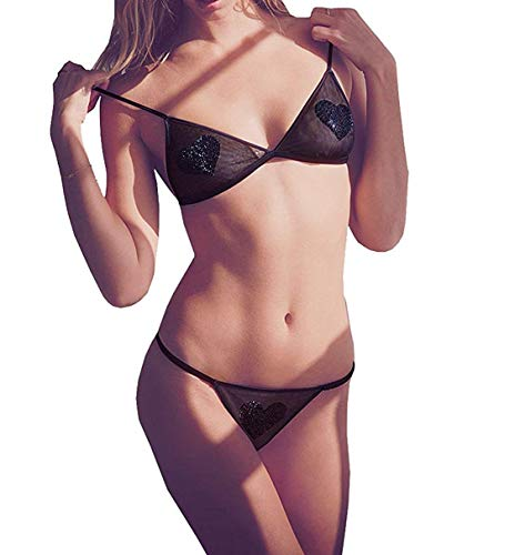 (Victorias Secrets Limited Edition Black Rhinestones Embellished Heart Bralette/Thong Set Medium)