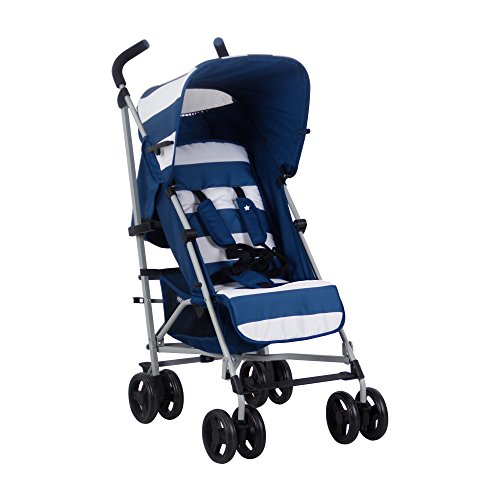 My Babiie US01 Blue Stripes Baby Stroller - Lightweight Baby Stroller with Carry Handle - Silver Frame and Blue Stripes - Lightweight Travel Stroller - Suitable from Birth - 33 lbs