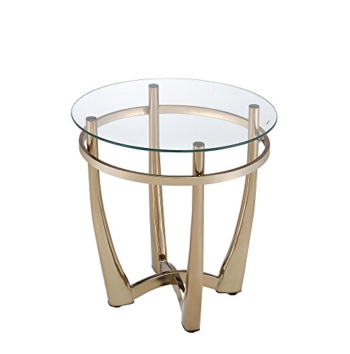 Acme Furniture 81612 Orlando II End Table, Champagne/Clear Glass