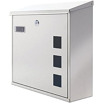 Tmedia Modern Lockable Stainless Steel Letterbox Mailbox