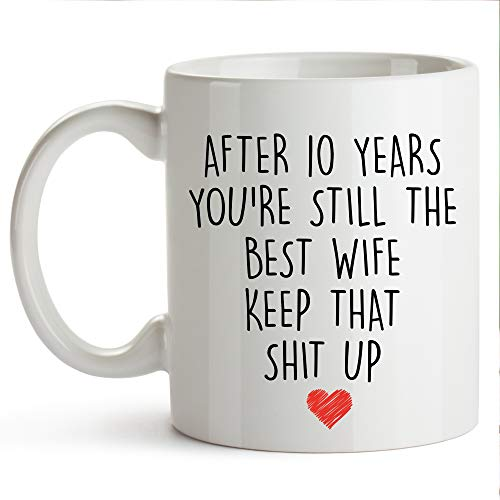 YouNique Designs 10 Year Anniversary Coffee Mug for Her, 11 Ounces, 10th Wedding Anniversary Cup For Wife, Ten Years, Tenth Year, 10th Year -