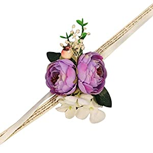 WeddingWrist Corsages and Boutonnieres Silk Rose Corsages Prom Long Ribbon Artificial Wrist Flowers,PK 2
