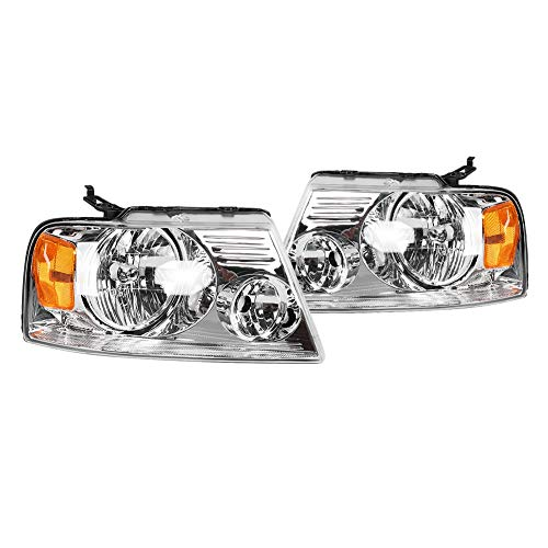Left & Right Pair Headlights Headlamps Assembly For Driver And Passenger Side Compatible With FORD F150 PICKUP 2004-2008 / For Lincoln Mark LT 2006-2008 7L3Z13008FA