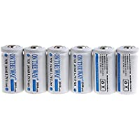 On The Way 2000mAh 16340 CR123A 3.7V Rechargeable Lithium Battery (Pack of 6)