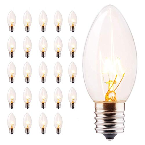 Minetom 25 Pack C9 Clear Replacement Bulbs for Christmas Lights, E17 C9 Intermediate Base Incandescent C9 Christmas Light Bulbs, 7-Watt, Warm White (Christmas Light C9 Replacement Bulbs)