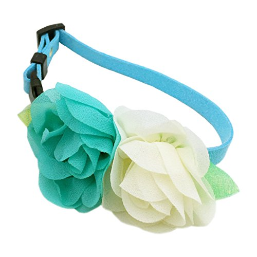 Puppy Soft Suede Flower Collars for Small Dogs Adjustable (Blue flower M) ()