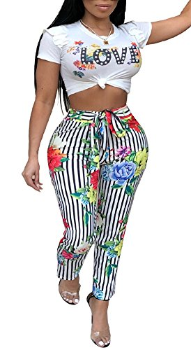Playworld Womens Short Sleeve High Waisted Jumpsuit 2 Pieces Striped Floral Print Rompers Outfit Tracksuit
