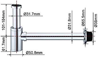Homelody Sifón de Baño 34cm G1-1/4 Latón Hecho de Latón Inoxidable ...