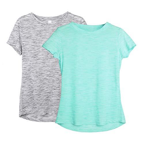 icyzone Dames 2-pack korte mouwen shirt ademend bovenstuk fitness gym top casual T-shirt