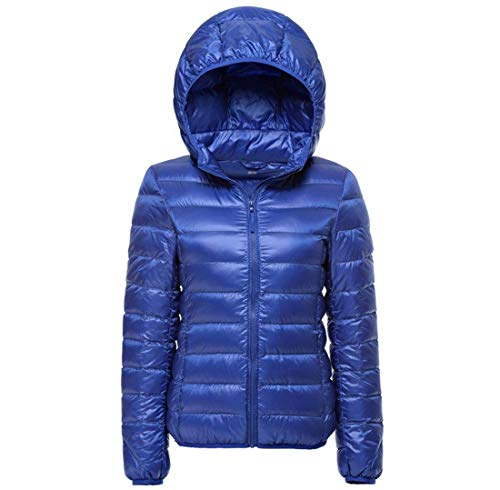 Mujer Chaqueta Acolchada Casual Fiesta Otoño Invierno Parkas Invierno Ligeramente Acolchado Abrigo Acolchado Manga Larga con Cremallera Slim Fit Moda Joven Abrigos Chaqueta Azul