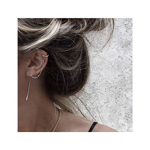 Leaf Double Earrings - SLUYNZ 925 Sterling Silver Cuff Chain Earrings Wrap Tassel Earrings for Women Crawler Earrings