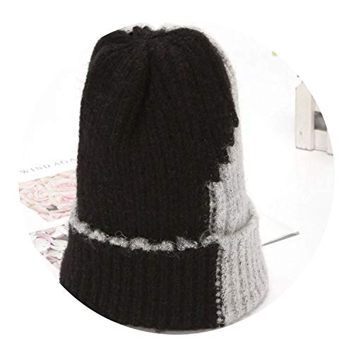 Winter Cap Two-Color Stitching Knitted Hats Fashion Color Winter Hat,Black Gray,One ()