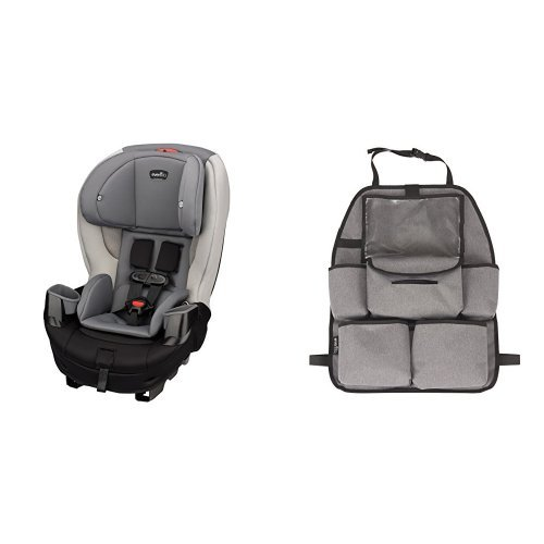Evenflo Stratos Convertible Car Seat, Silver Ice with Deluxe Car Backseat Organizer, Grey Melange