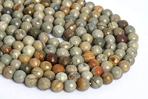 Jewelry Making Supplies 9-10MM Natural Silver Leaf Jasper Beads AAA Micro Faceted Round Loose Beads 7.5