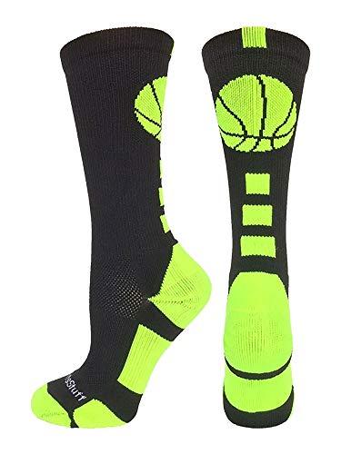 MadSportsStuff Basketball Logo Athletic Crew Socks, Small - Black/Electric Green (Christmas Things Basketball For)