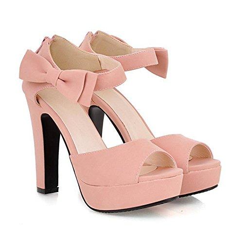 Minetom Damen Sommerschuhe Elegante Pumps High Heels Sandalen Abendschuhe mit Bowknot Pink