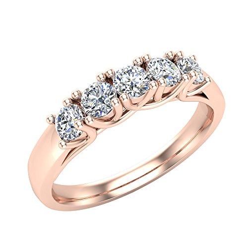 14K Rose Gold Five-Stone Wedding Band Classic Trellis Setting Diamond Ring 0.50 ct tw (Ring Size (Trellis Engagement Setting)