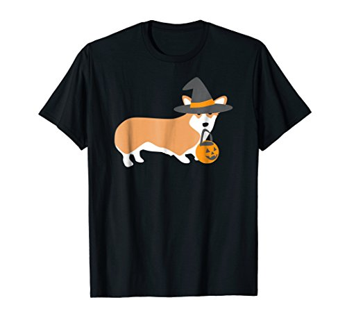 Halloween Dabbing Corgi Dog Shirt Funny Magical Witch Hat Gi