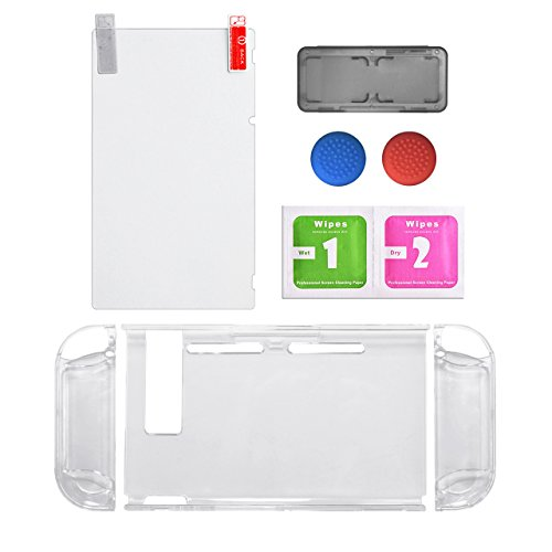 Protective Accessories Bundle,Screen Protector for Nintendo Switch Replacements Thumb Caps for Nintendo Switch Joy-con with Neon Blue /Neon Red(Clear Color)