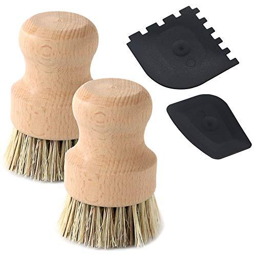 Union Fiber Brush - Set of 2 Packs Natural Fiber Pot Brush and 2 Packs of Plastic Grill Pot Scraper, DaKuan Durable Untreated Beechwood Handle with Heat Resistant Union Fiber Head