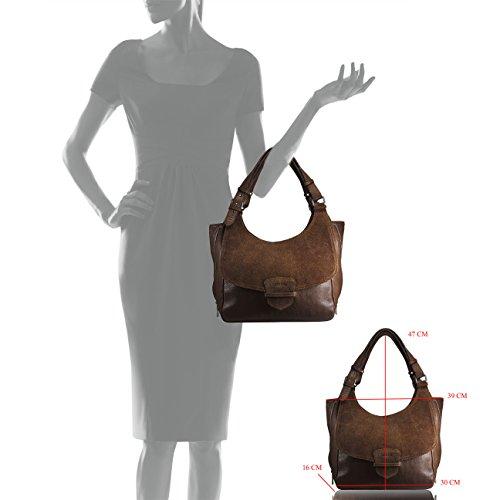 Shopper Leder Handtasche Echtleder FERETI Mit Portemonnaie Braun Wildleder Tan Schultertasche Nude Suede Set Damen Tasche wqPZxxA