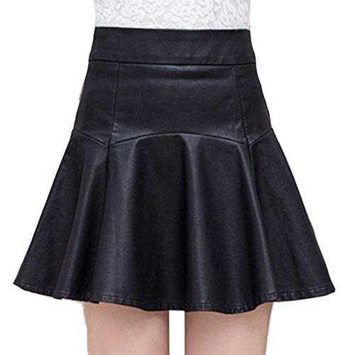 Helan Femmes Court en cuir sexy taille haute PU Jupes plissees