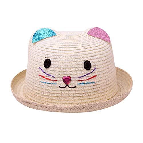 (SMALLE Summer Baby Boy Girls Bear Printed Cartoon Children Breathable Hat Straw Hat Kids Cap (50-54cm(Head Circumference), a_Beige))