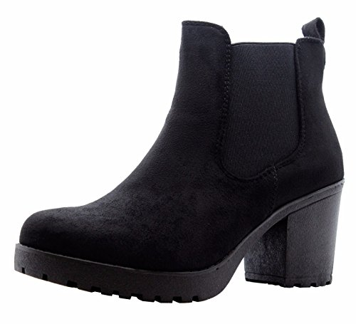 SAUTE STYLES Ladies Womens Block Chunky Heels Chelsea Ankle Boots Grip Sole Office Shoes Size 3-8 Black Suede School