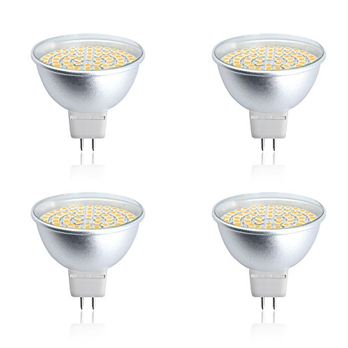 Luxvista LED MR16 GU5.3 Base Bulb 120 Volt Spotlight Gx5.3 Base 50W Halogen Bulbs Equivalent Warm White 2700K for Recessed Ceiling Lights, Reflector Light, Retail Display Lighting (4-Pack)