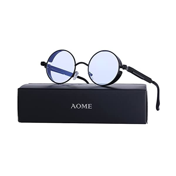AOME Gothic Steampunk Round Sunglasses Metal Frame Mirrored Circle Lens Glasses 3