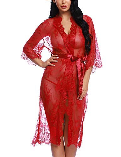 - RSLOVE Lingerie for Women Sexy Long Lace Kimono Robe Eyelash Babydoll Sheer Cover up Dress Wine Red S