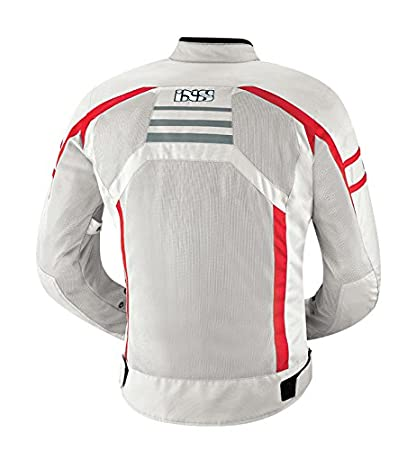 IXS Mens Andover Jacket Light Grey//Red, Small