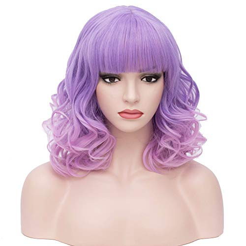 Short Style Wig - BERON 14'' Short Curly Women Girl's Charming Synthetic Wig with Air Bangs Wig Cap Included (Purple/Pink)
