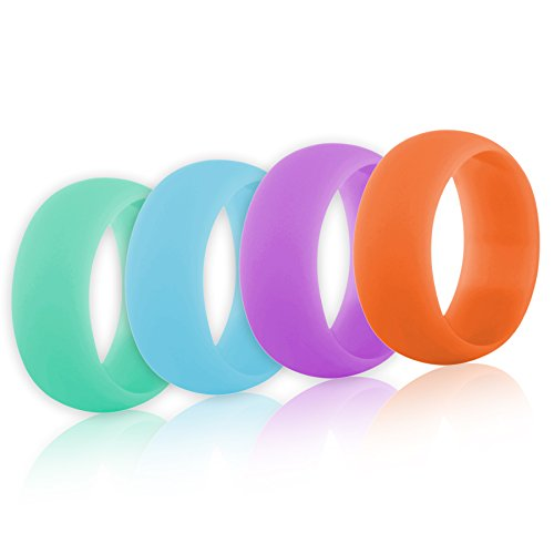 (Price/4 Pcs) GOGO Women's Silicone Wedding Rings Pack - 9 mm Wide (2 mm Thick) - Aqua Marine