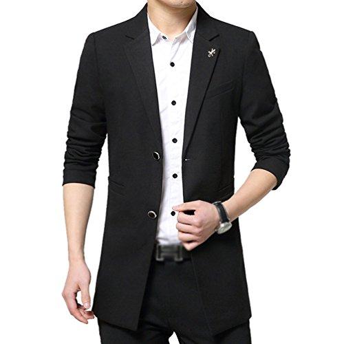 Giacca Jacket Yilianda Nero Elegante Casual Due Bottoni Di Blazer Uomo Vestito Cappotto xxwPE